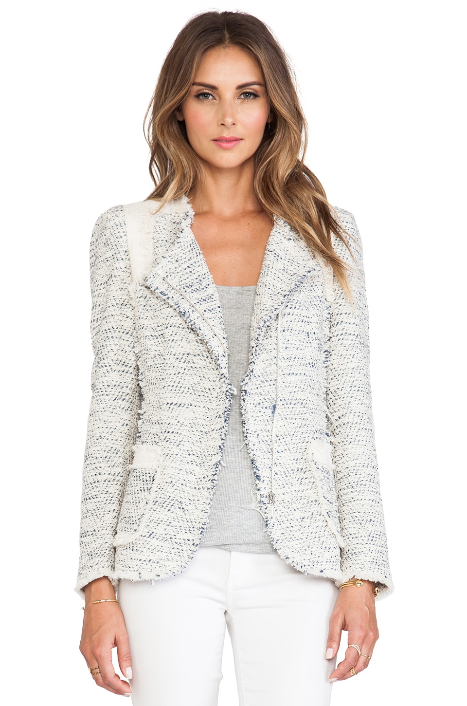 Rebecca Taylor Color Block Tweed Blazer in Navy Combo