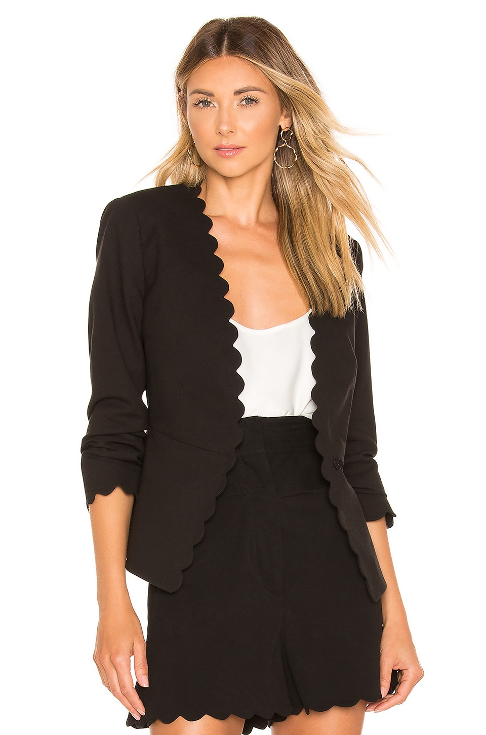 Rebecca Taylor Jackets REBECCA TAYLOR SCALLOP SUIT JACKET IN BLACK.