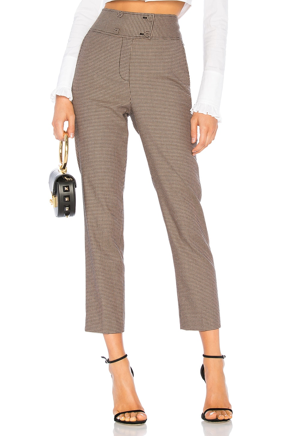 Rebecca Taylor Houndstooth Pant in Camel & Black