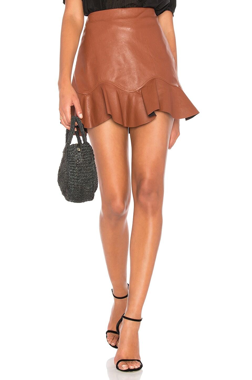 Rebecca Taylor Vegan Leather Skirt in Pecan
