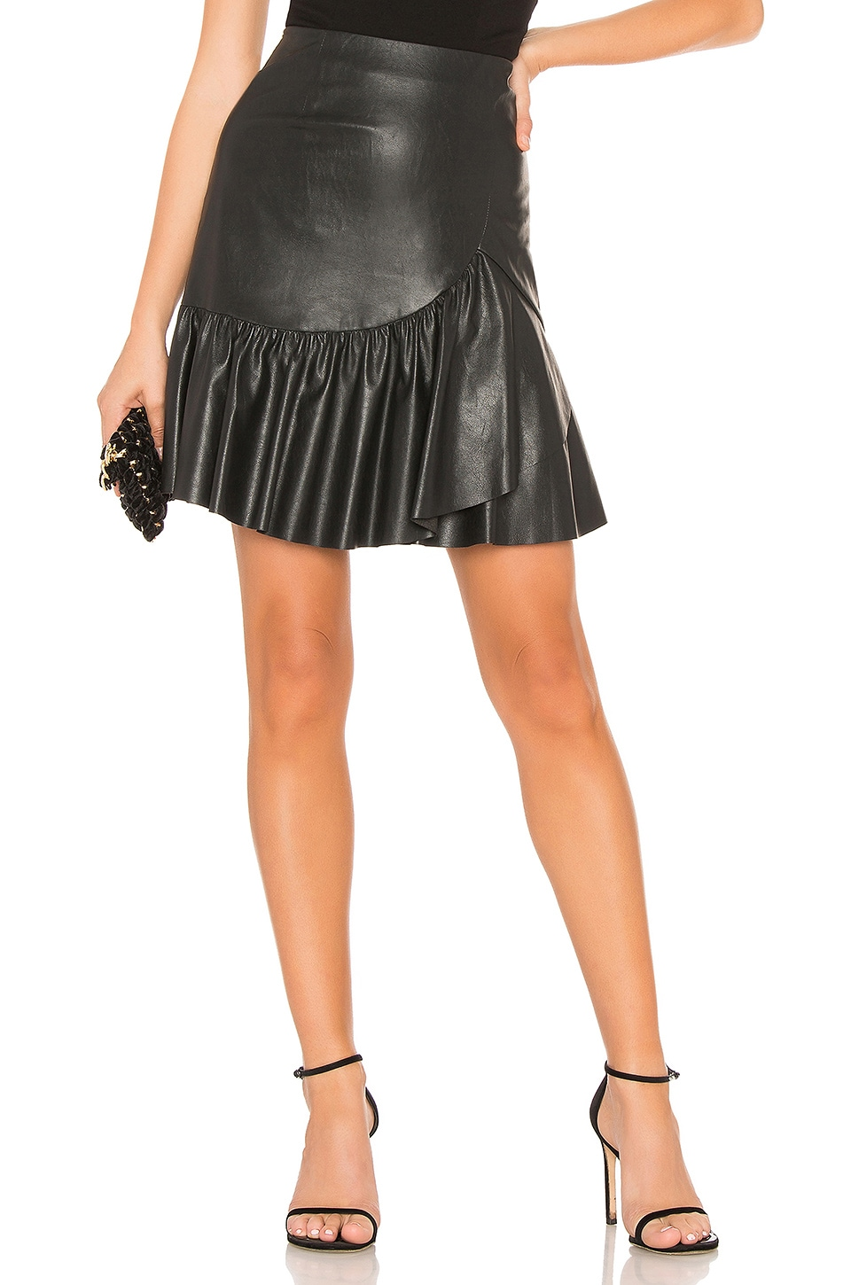 Rebecca Taylor Vegan Leather Skirt in Black