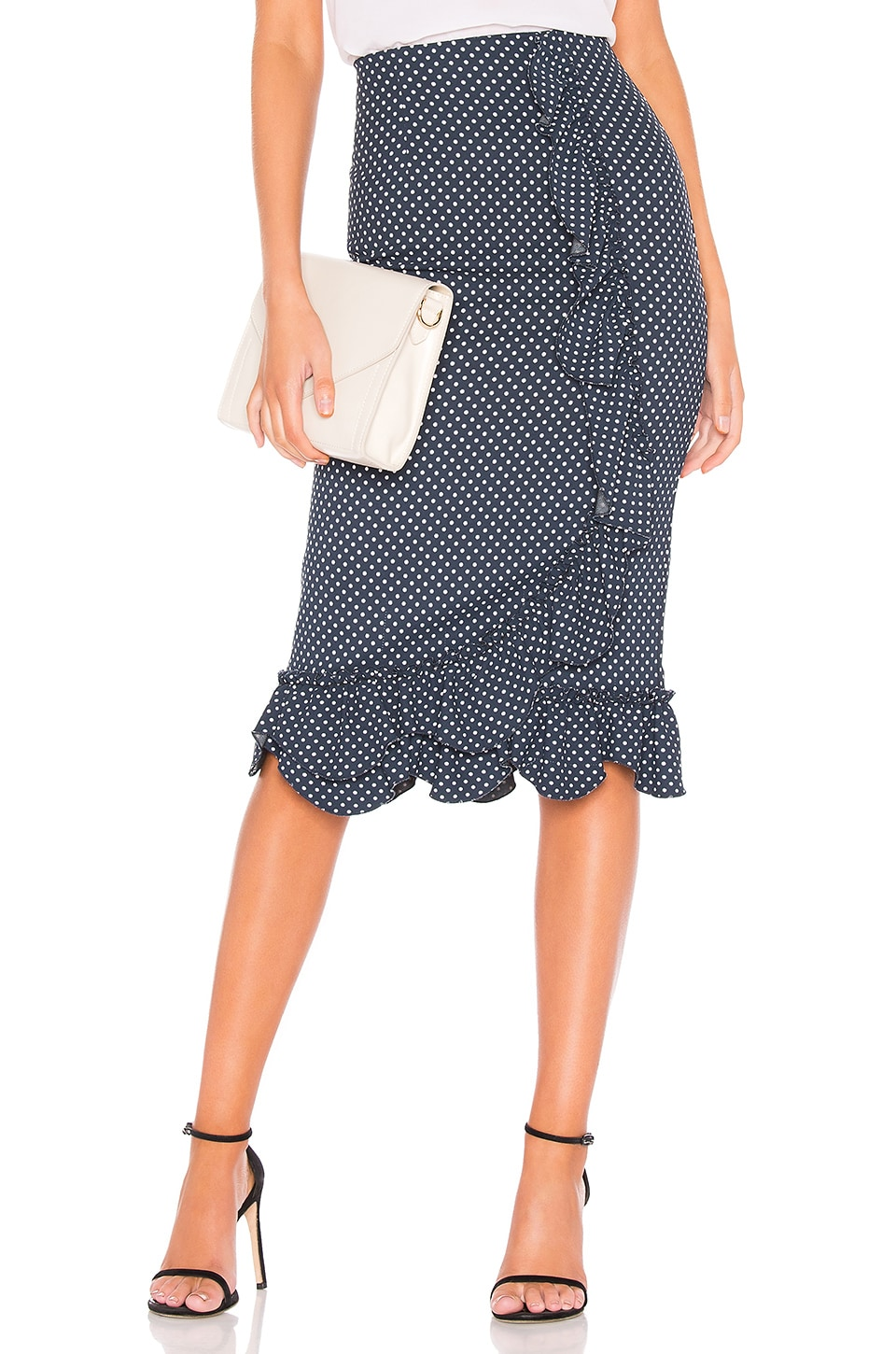 Rebecca Taylor Dot Ruffle Skirt in Navy Combo
