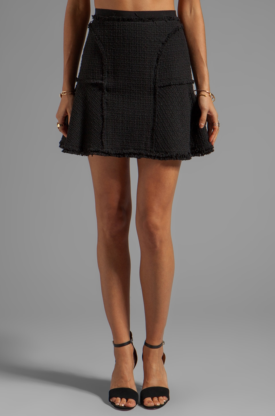 Rebecca Taylor Tweed Flounce Skirt in Black