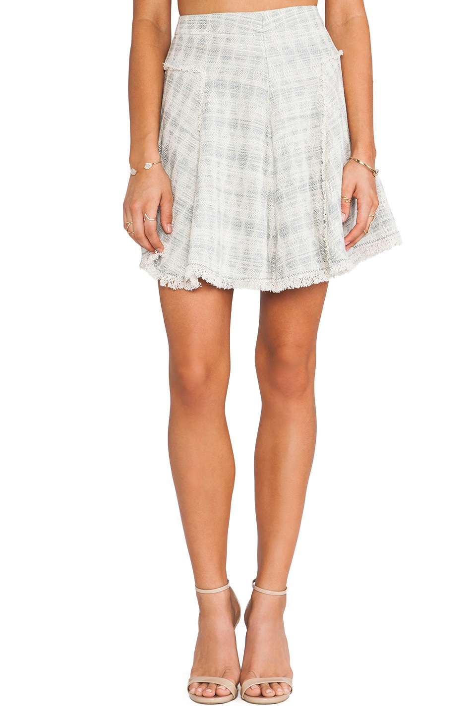 Rebecca Taylor Mixed Tweed & Lace Skirt in Light Grey
