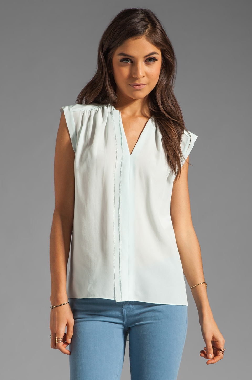 Rebecca Taylor Sleeveless Henley in Sky
