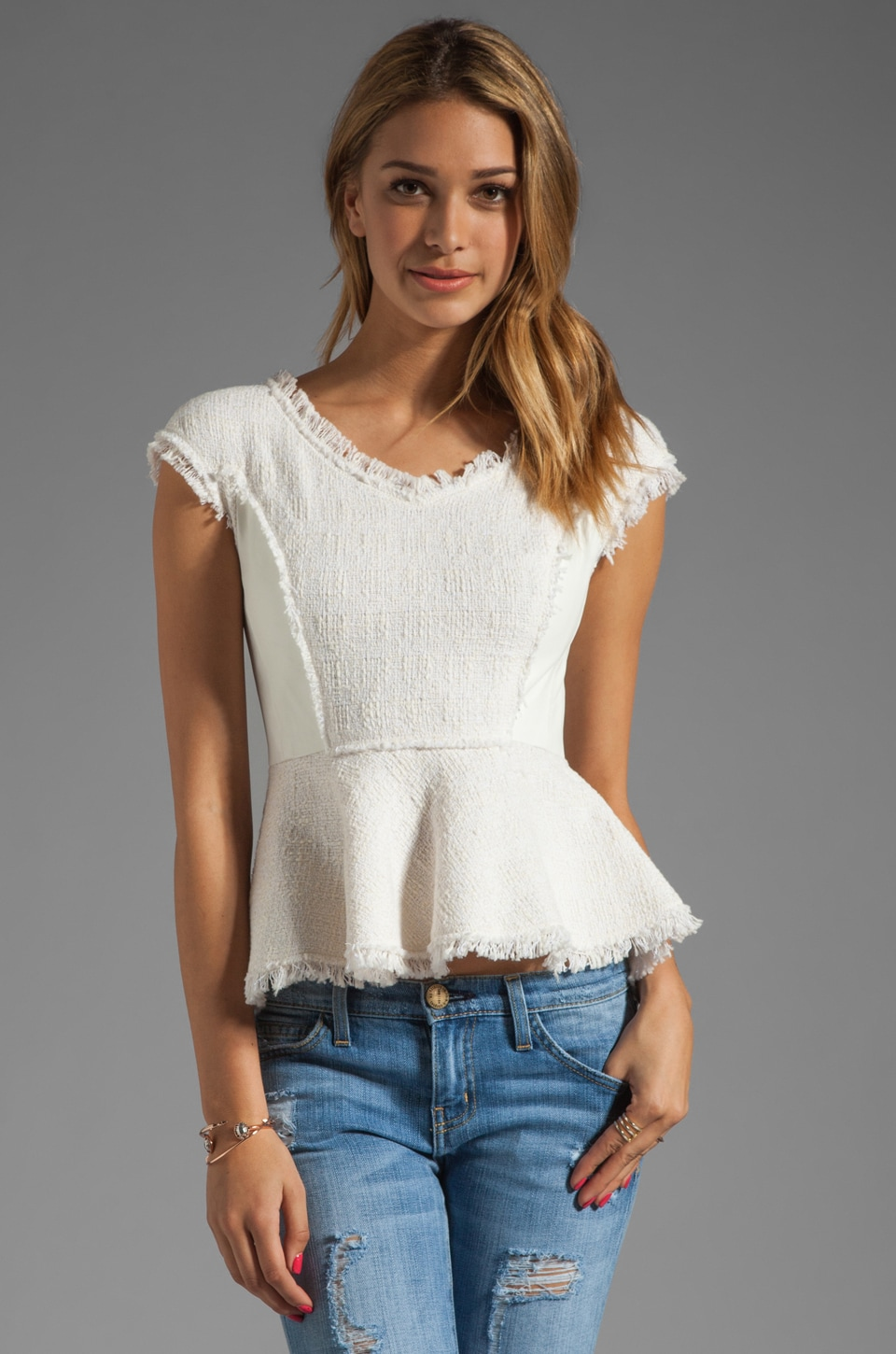 Rebecca Taylor Tweed V Peplum Top in Cream/Optic White