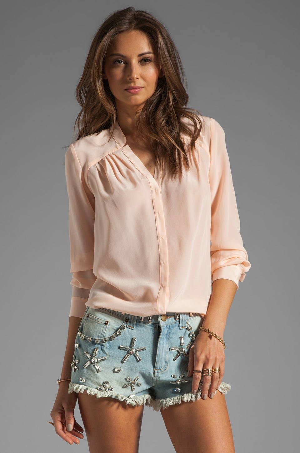Rebecca Taylor Classic Femme Shirt in Sorbet