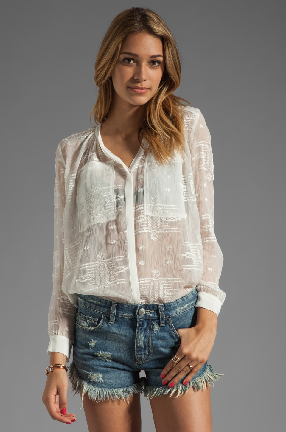 Rebecca Taylor RUNWAY Embroidered Shirt in Cream
