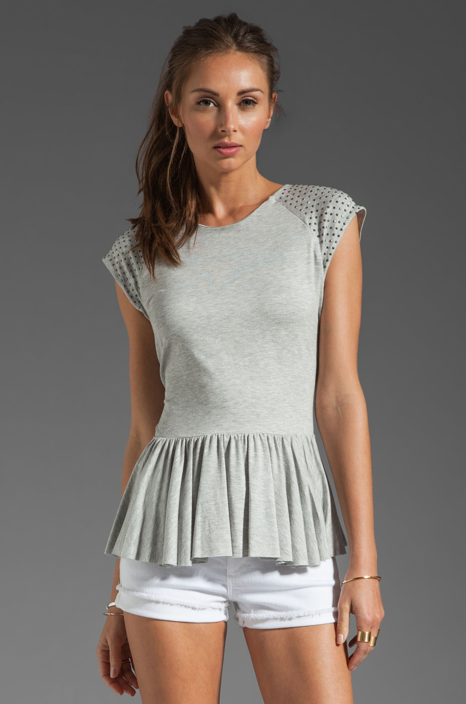Rebecca Taylor Nailhead Peplum in Heather Grey