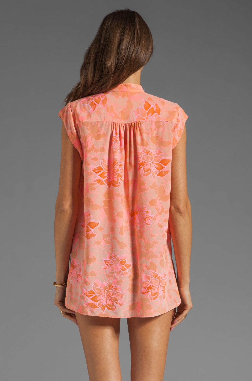 Rebecca Taylor Hibiscus Shirt in Tangerine