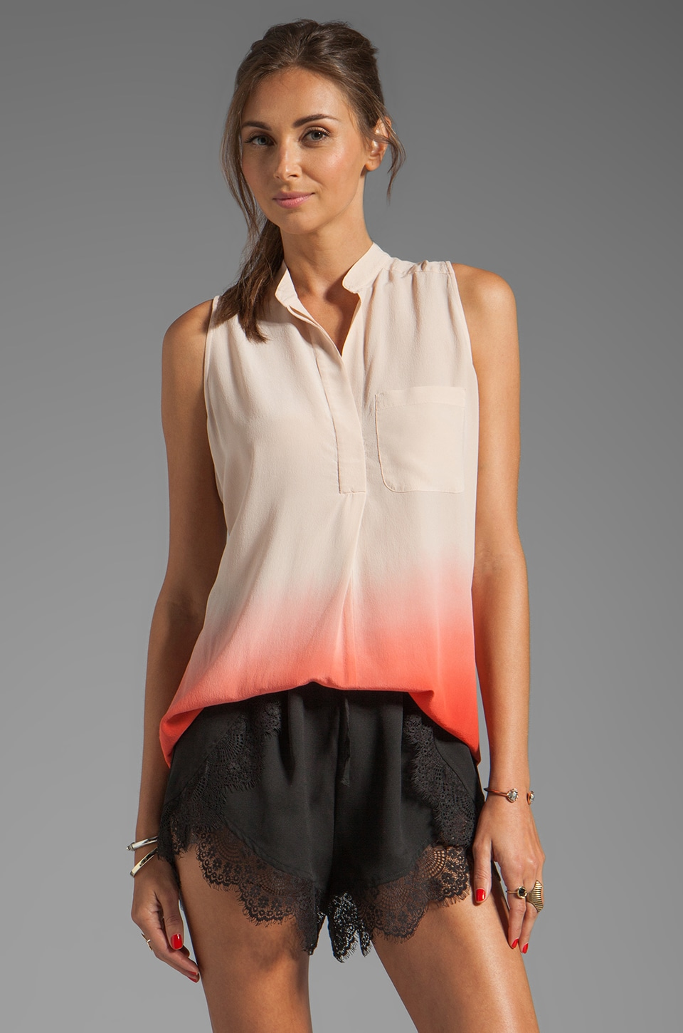 Rebecca Taylor Ombre Sleeveless Blouse in Salmon