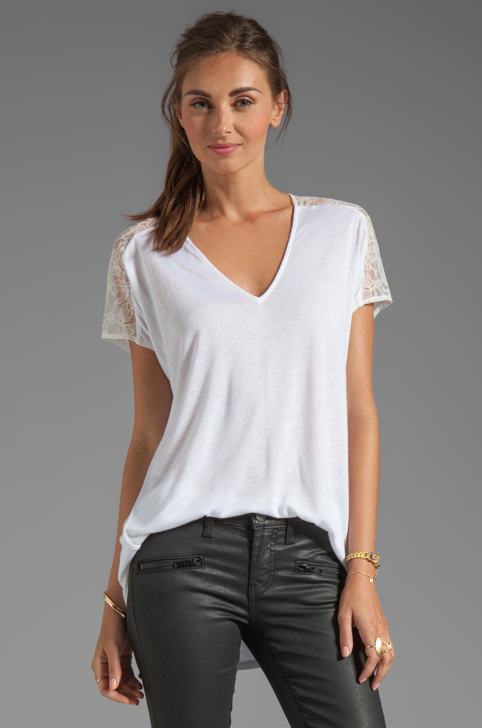 Rebecca Taylor Lace V Tee in White