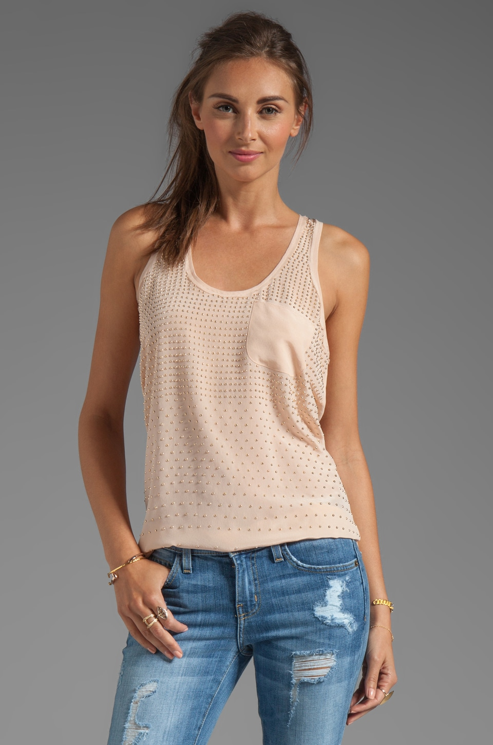 Rebecca Taylor Stud Tank in Nude/Gold