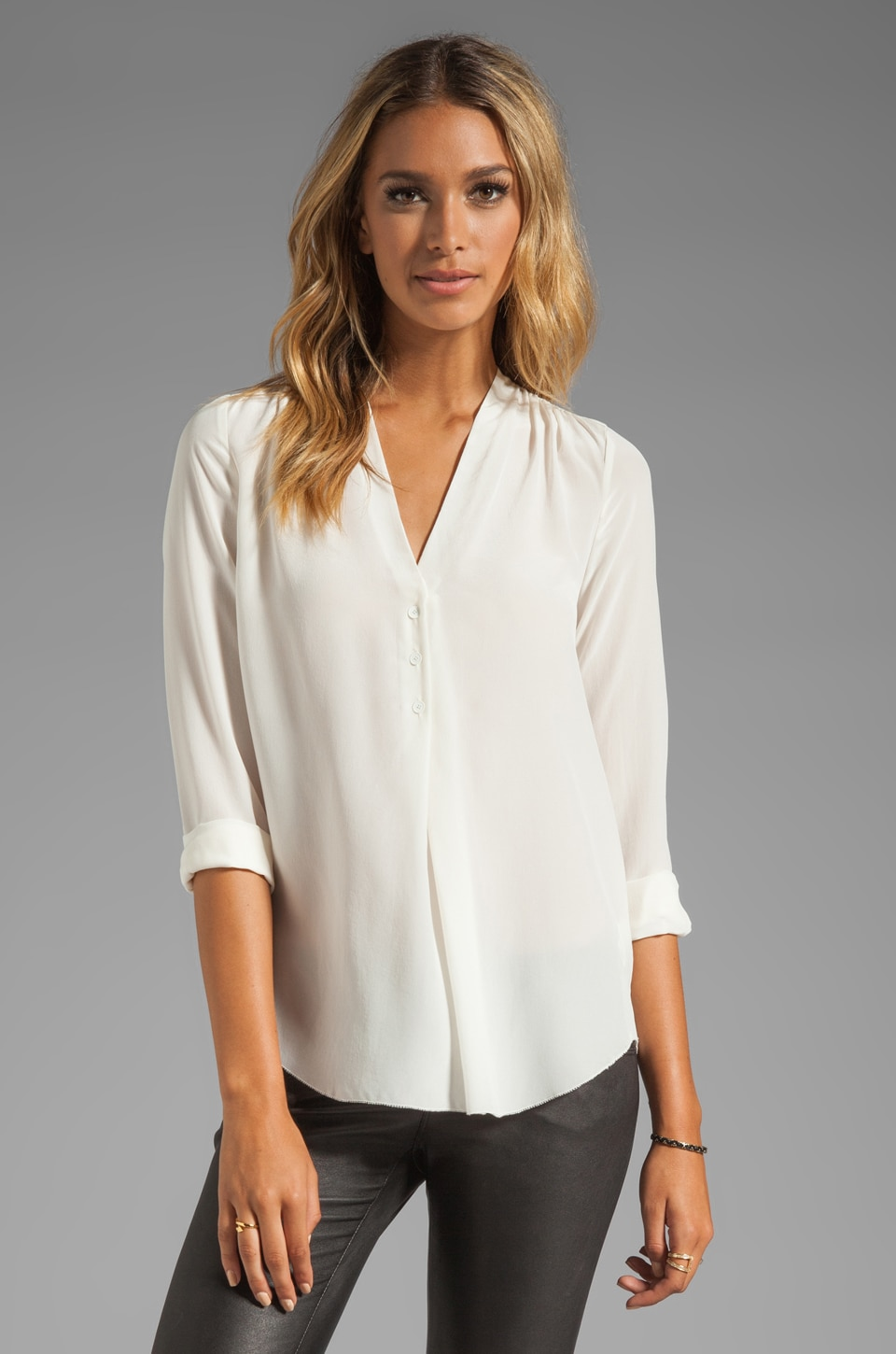 Rebecca Taylor Silk Blouse in Cream