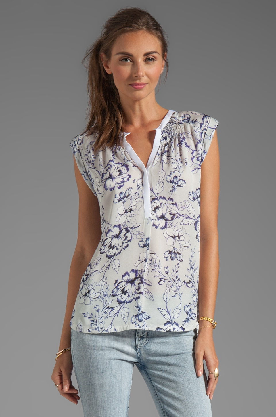Rebecca Taylor Zen Flower Sleeveless Blouse in Grey