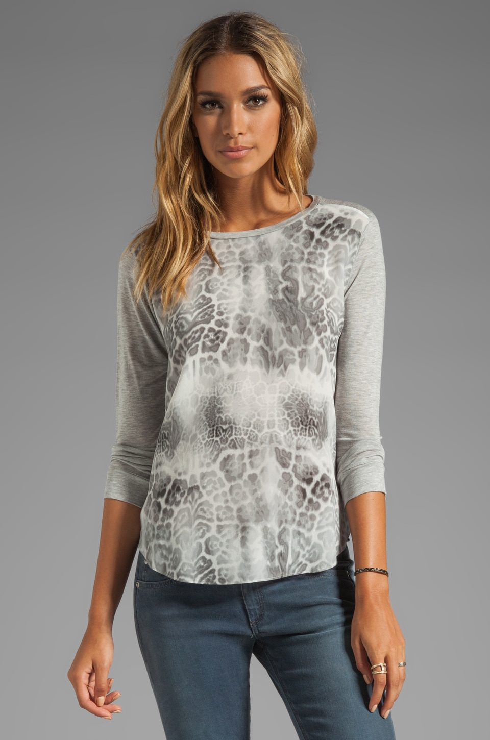 Rebecca Taylor Animal Printed Long Sleeve Tee in Steel Combo