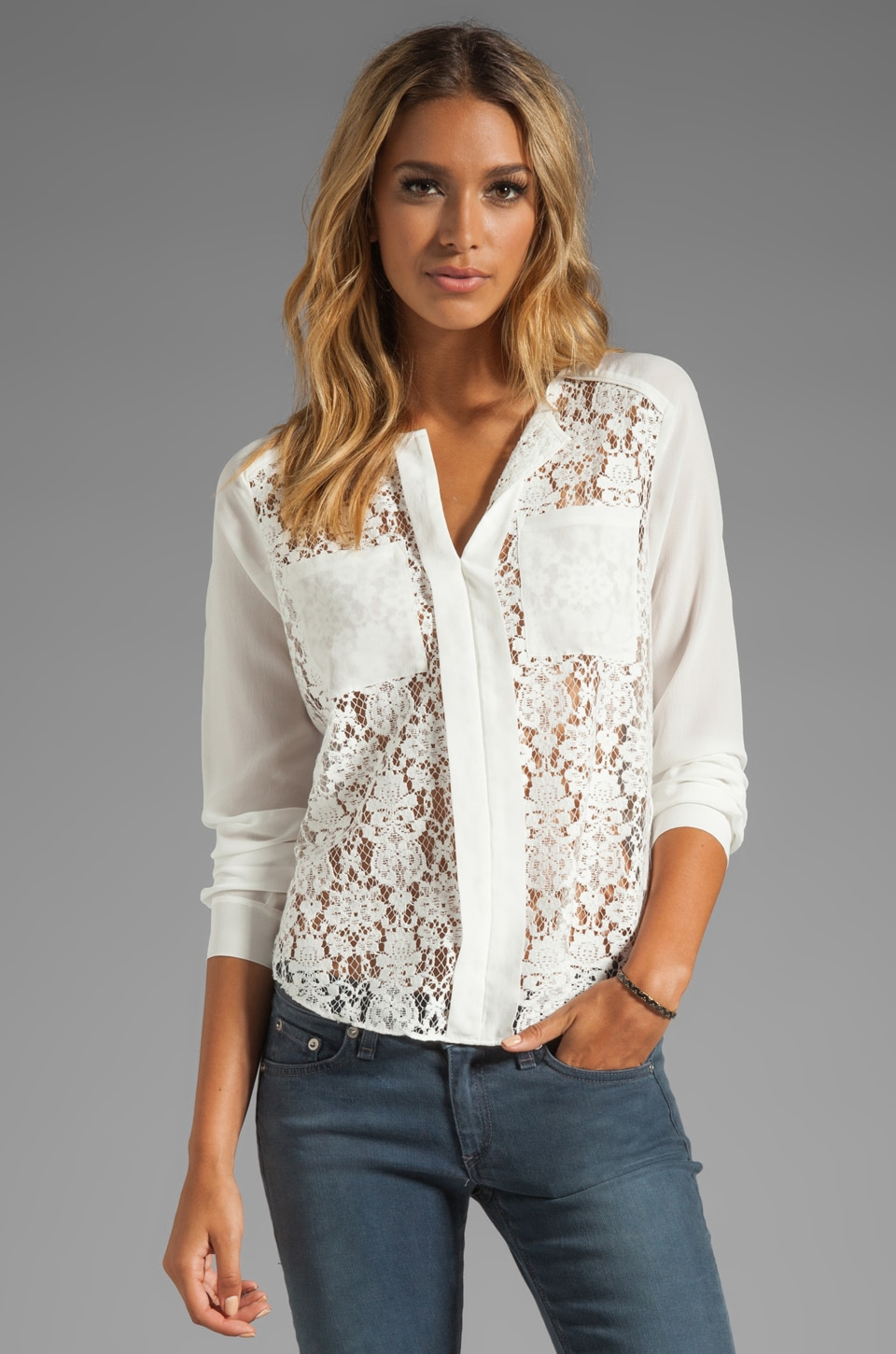 Rebecca Taylor Lace Blouse in Cream