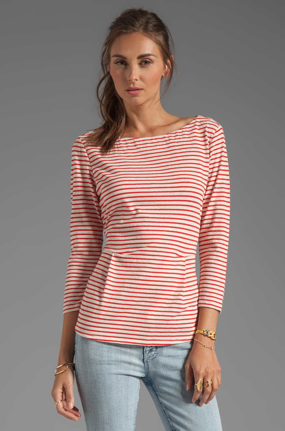 Rebecca Taylor Striped Demi Peplum Tee in Red Stripe