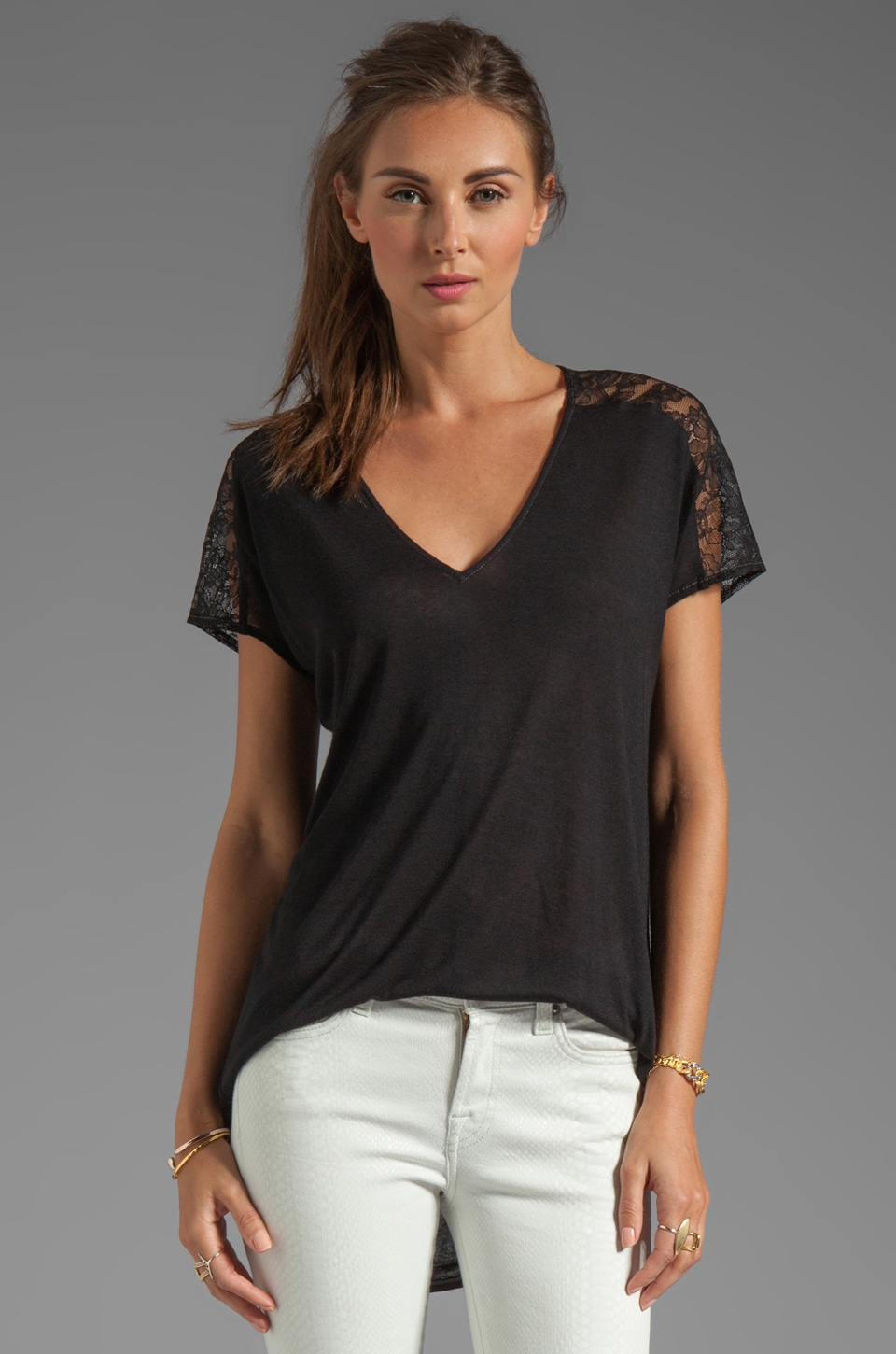Rebecca Taylor Lace V Tee in Black