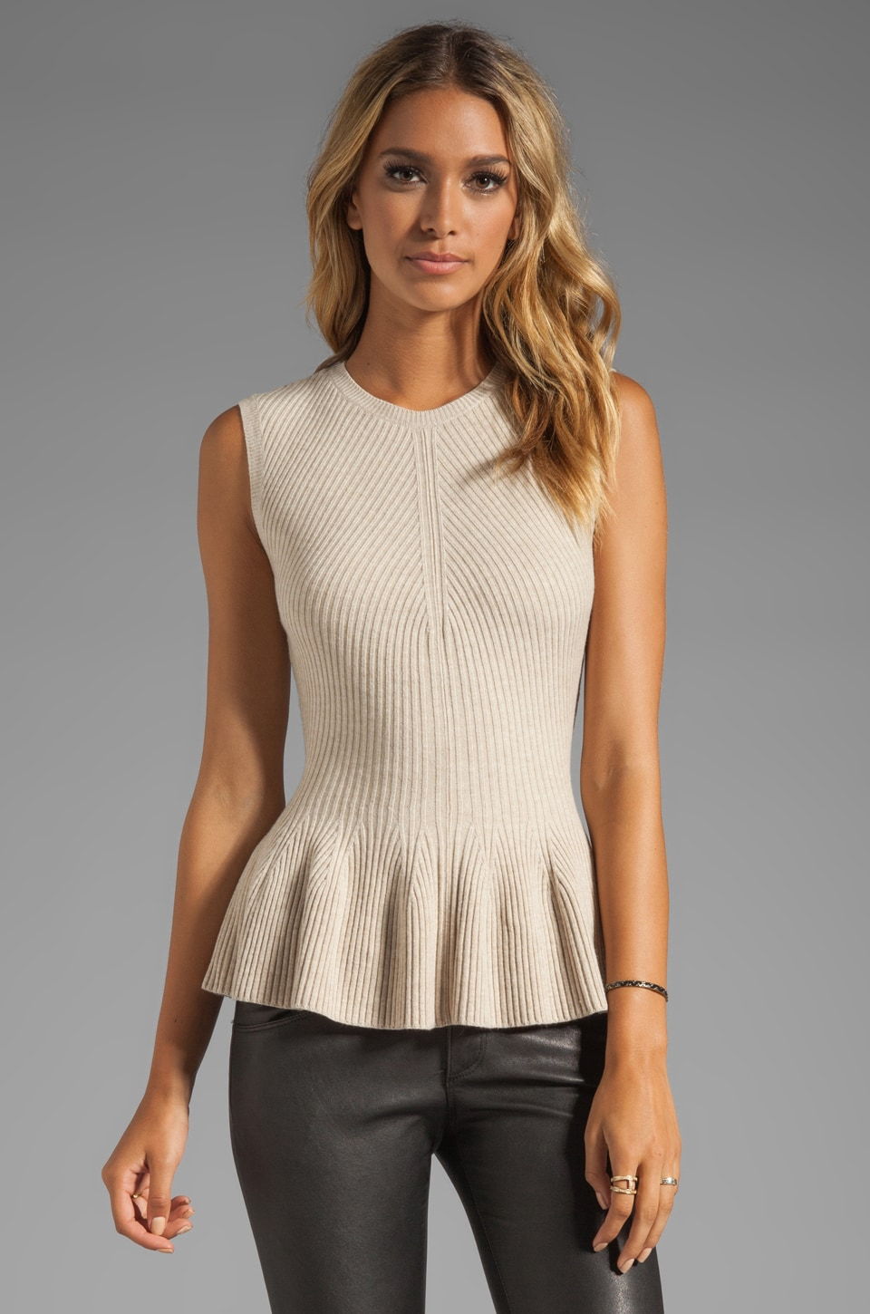 Rebecca Taylor Ribbed Peplum in Nude