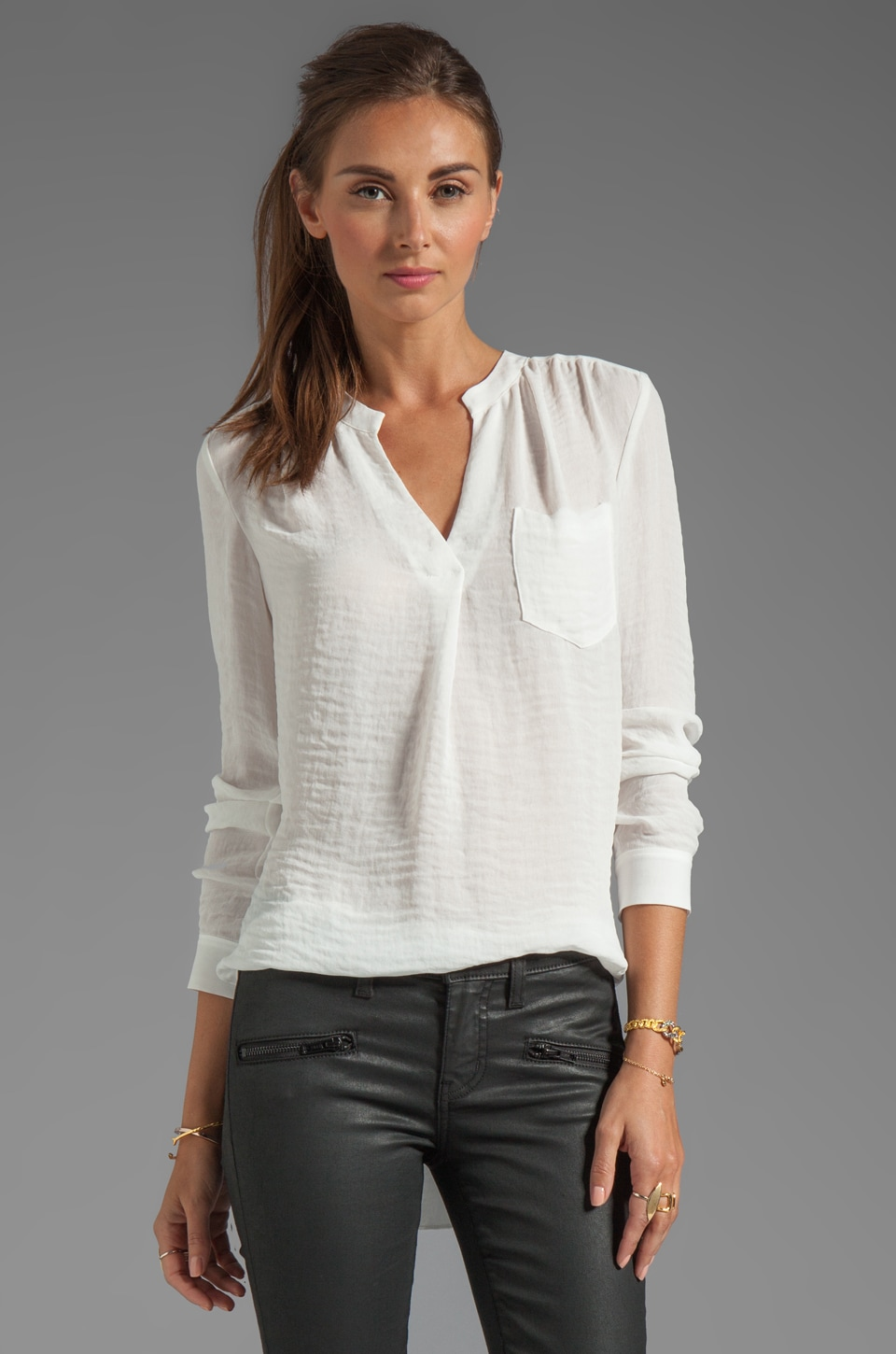 Rebecca Taylor Pocket Henley in Cream
