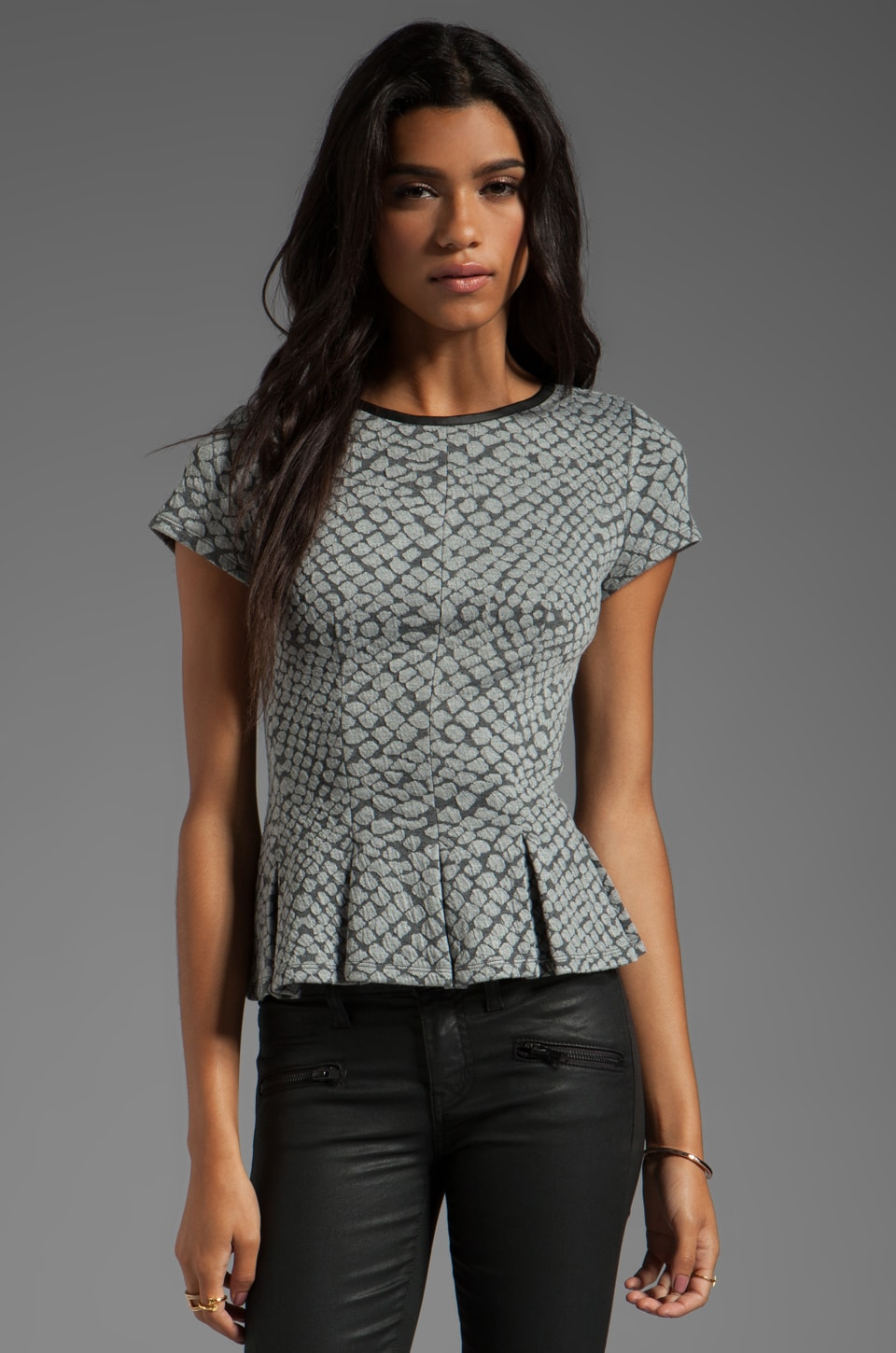Rebecca Taylor Pleated Tee in Charcoal