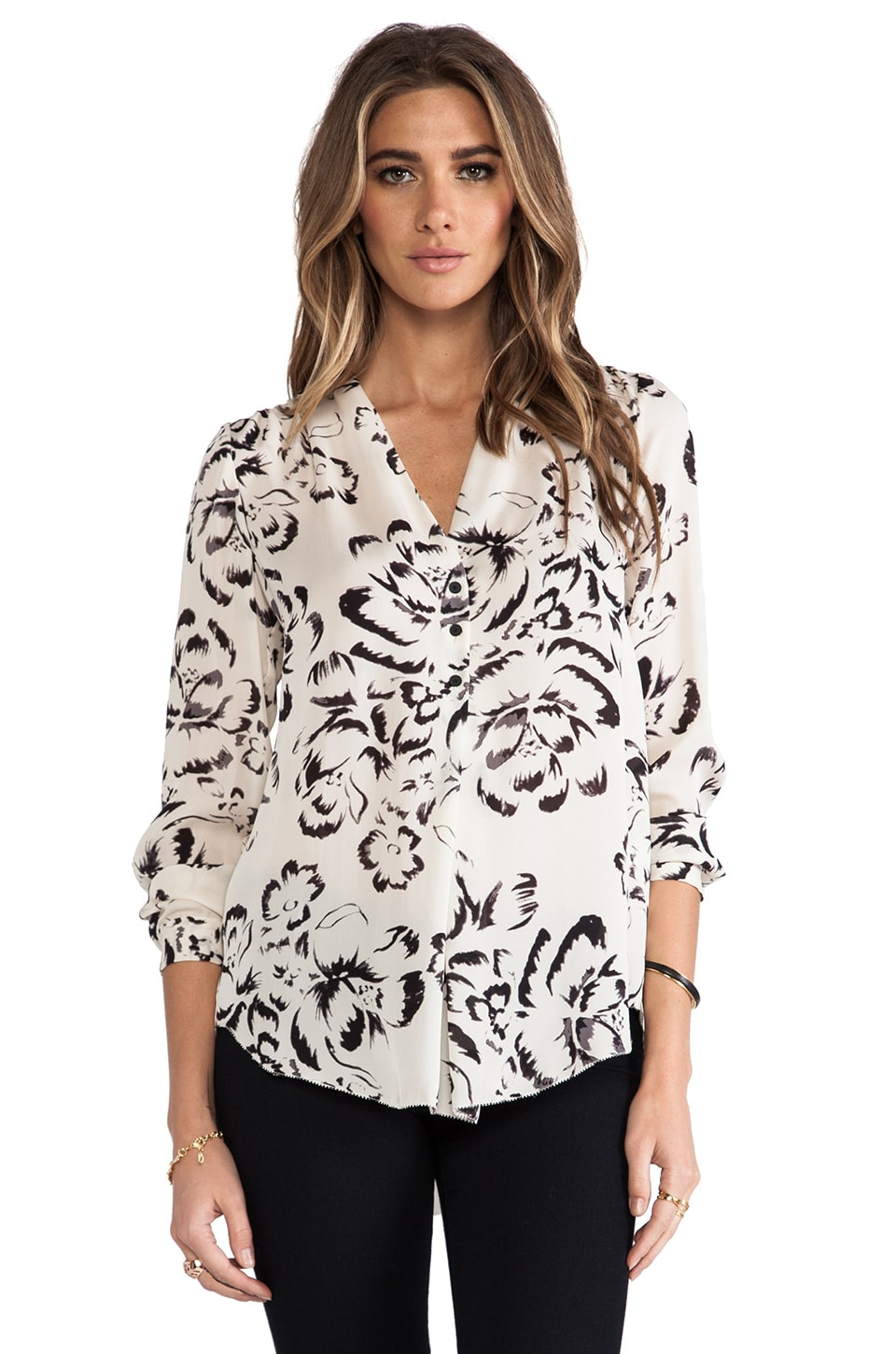Rebecca Taylor Artisanal Flower Blouse in Cream/Black