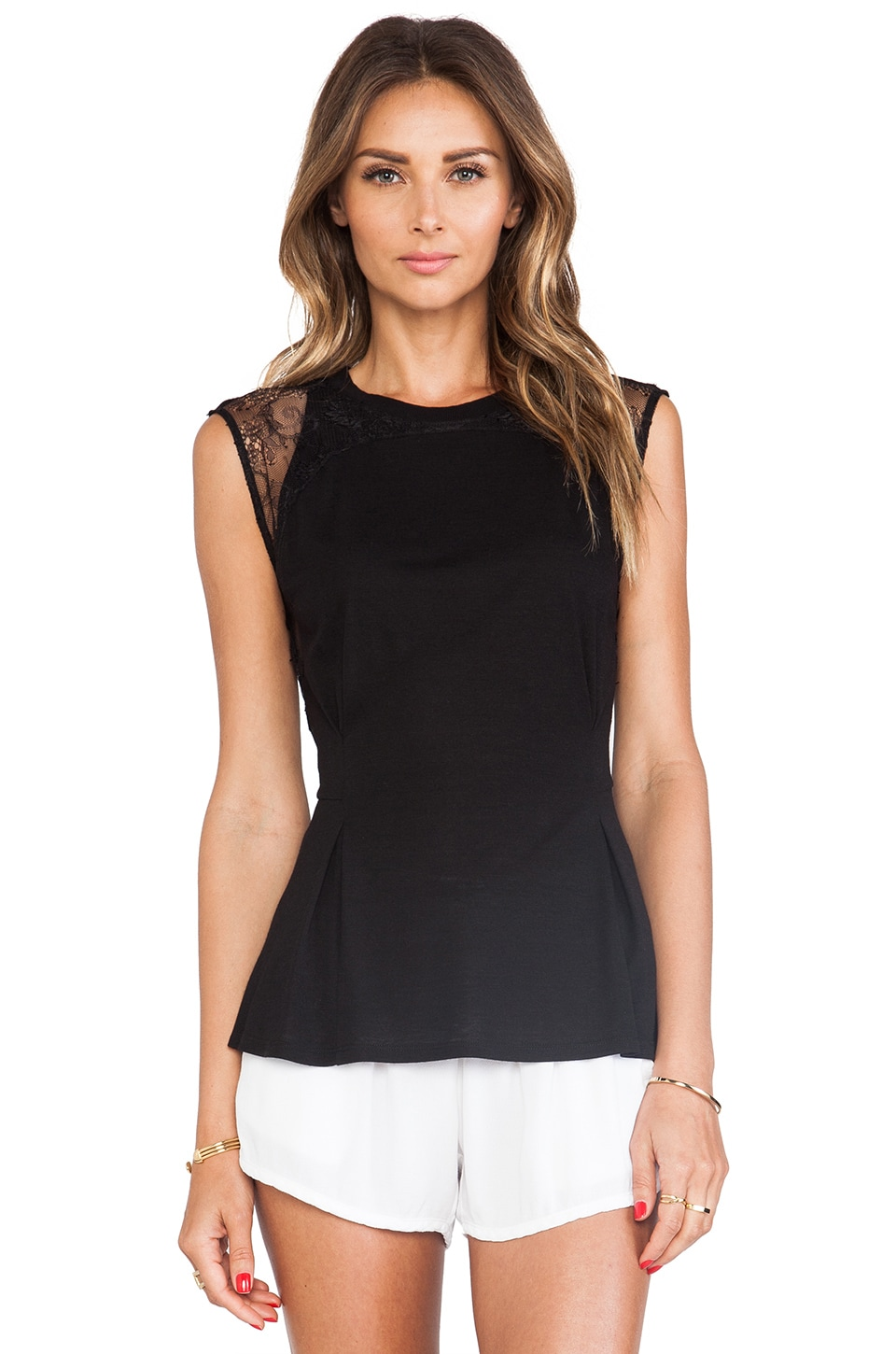 Rebecca Taylor Blocked Tee in Black/Black