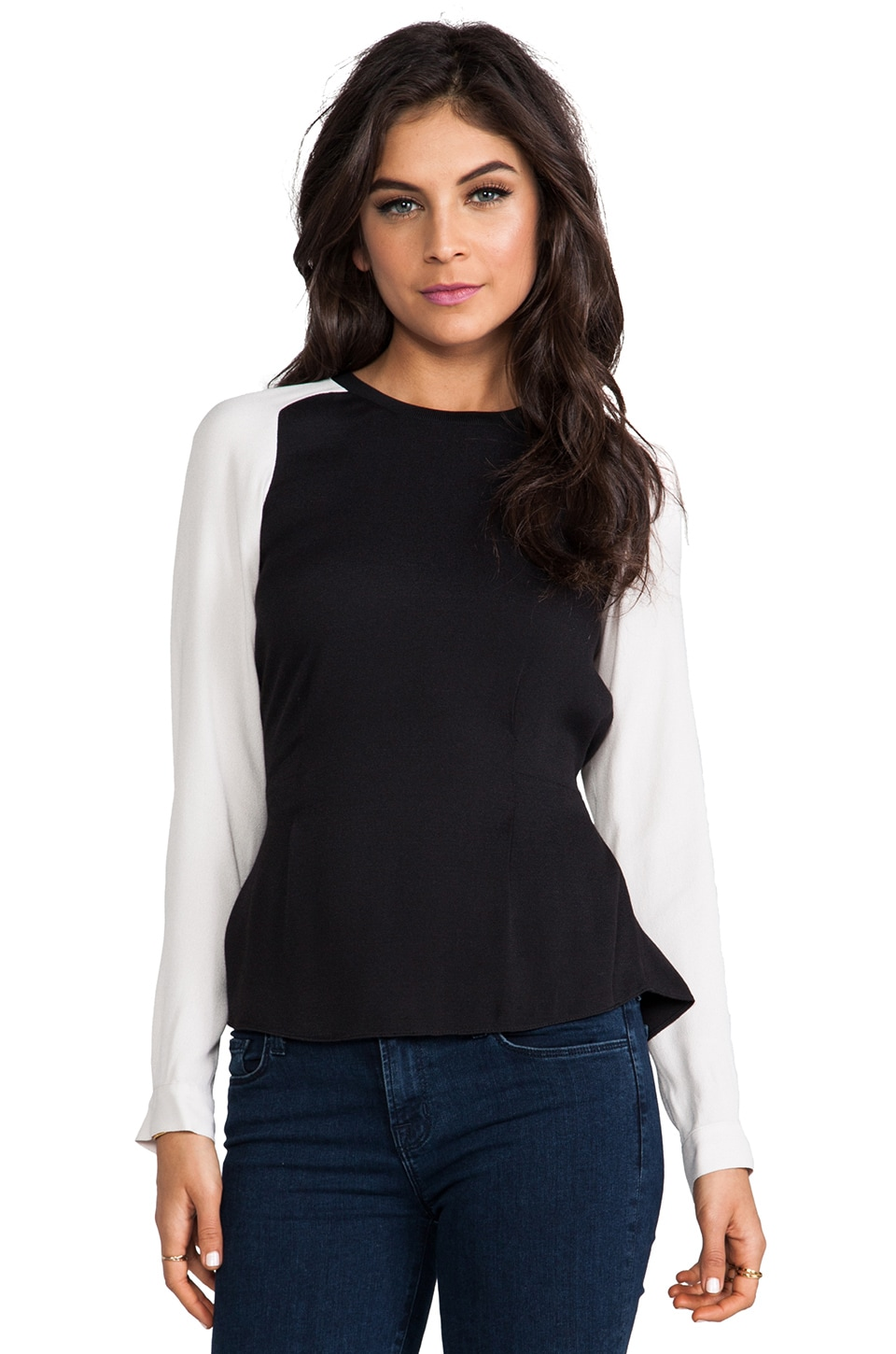 Rebecca Taylor Rib Trim Longsleeve in Black/Chalk