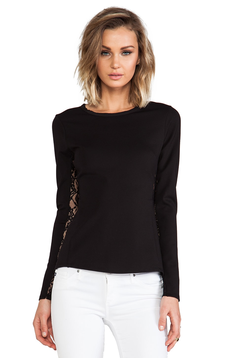 Rebecca Taylor Long Sleeve Peplum Top in Black