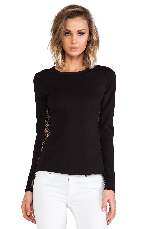 Rebecca Taylor Long Sleeve Peplum Top in Black