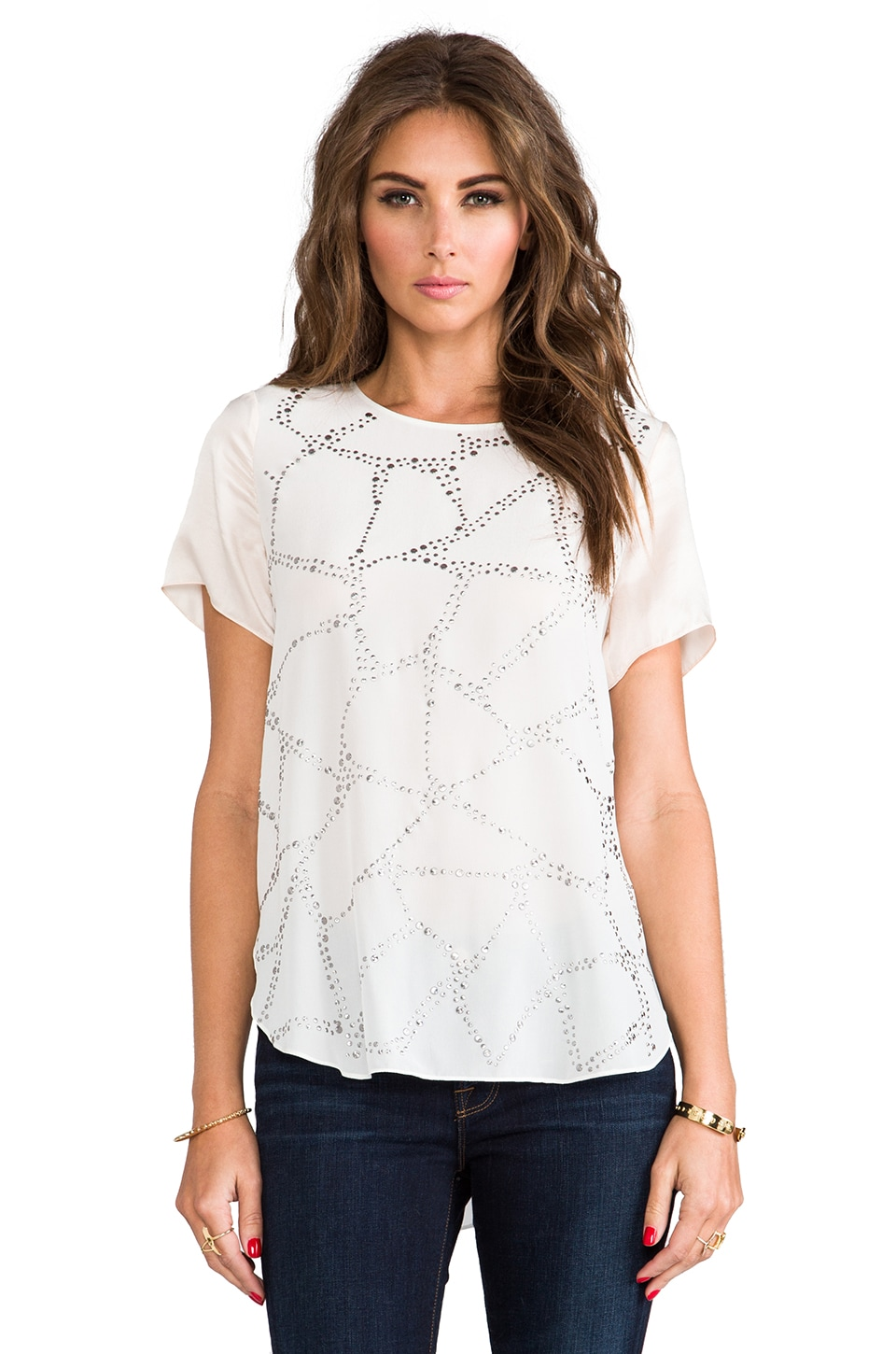 Rebecca Taylor Embellished Silk Tee in Calla Lily