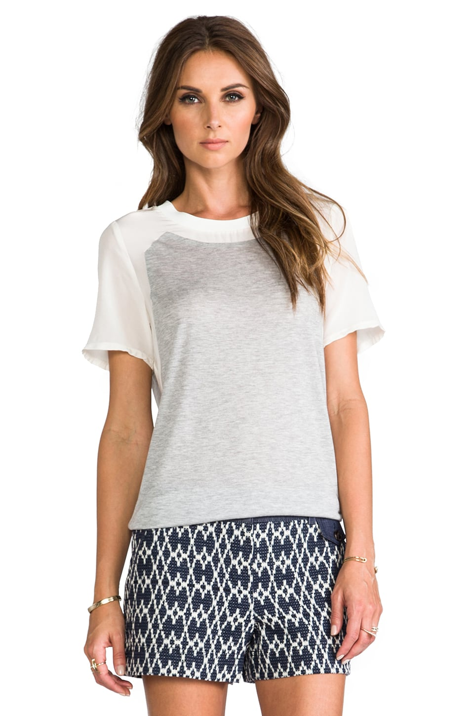 Rebecca Taylor Silk Combo Tee in Heather