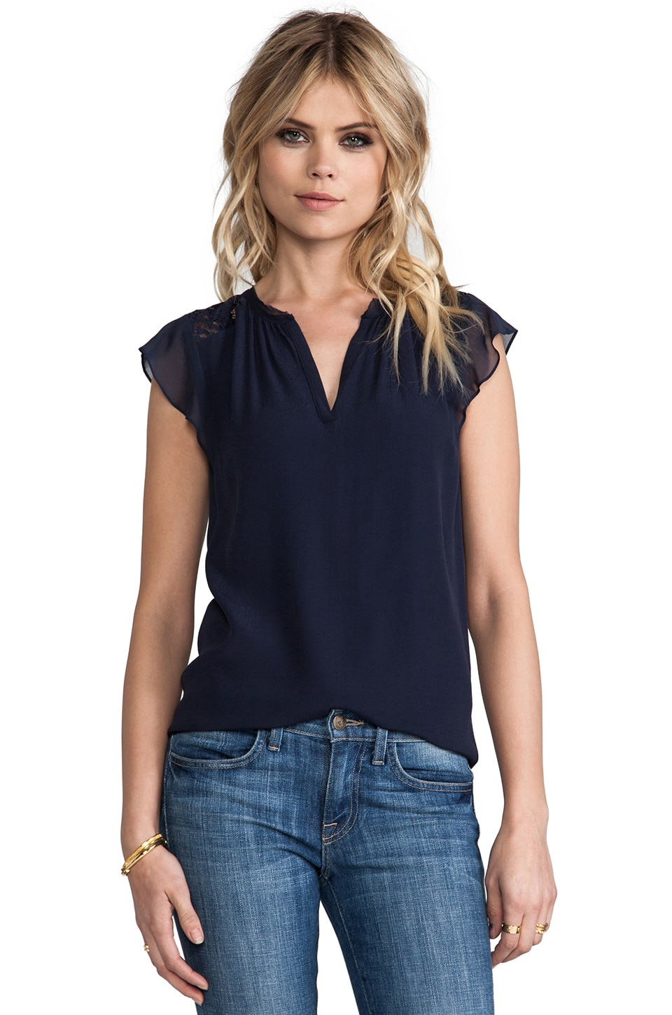 Rebecca Taylor Crepe & Lace Tee in Smoky Blue