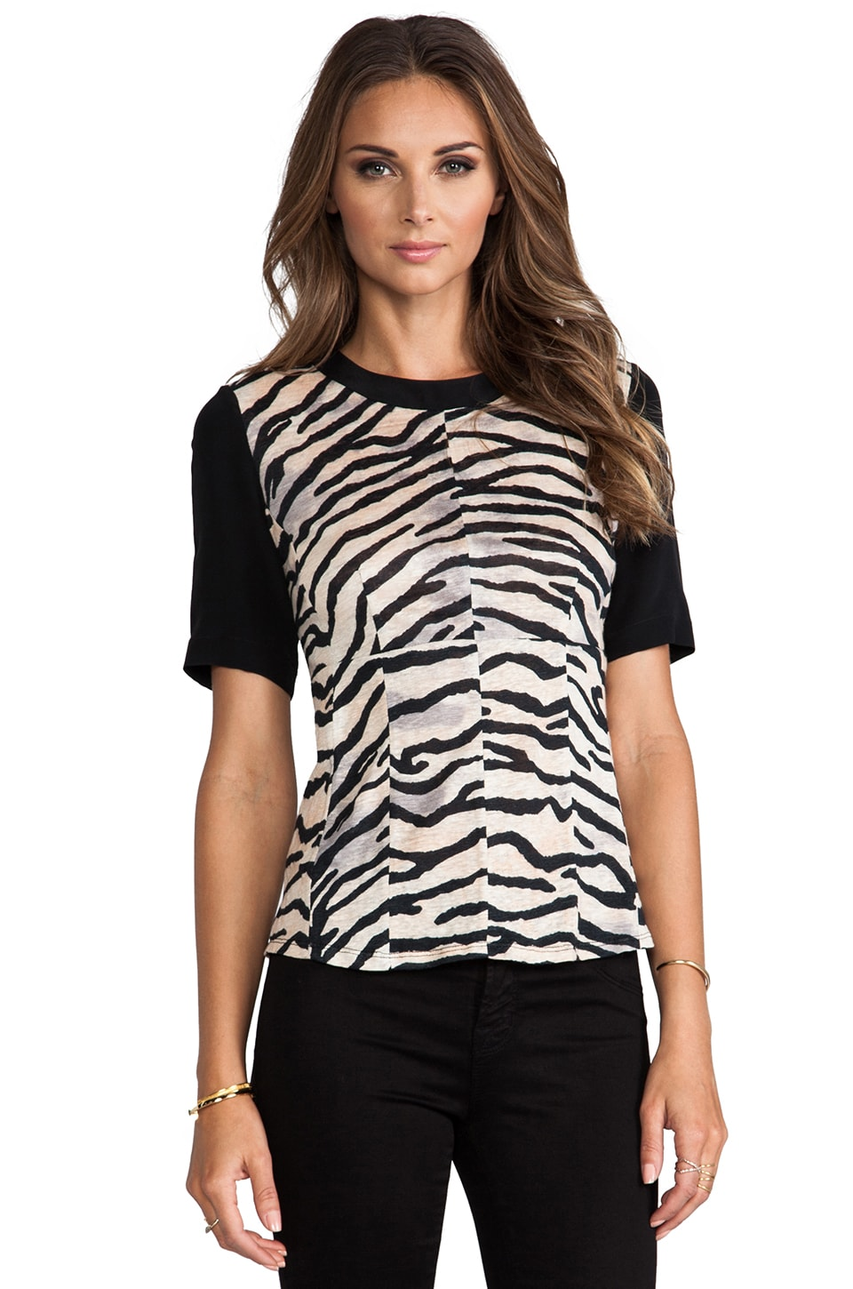 Rebecca Taylor Tiger Print Jersey Combo Top in Natural
