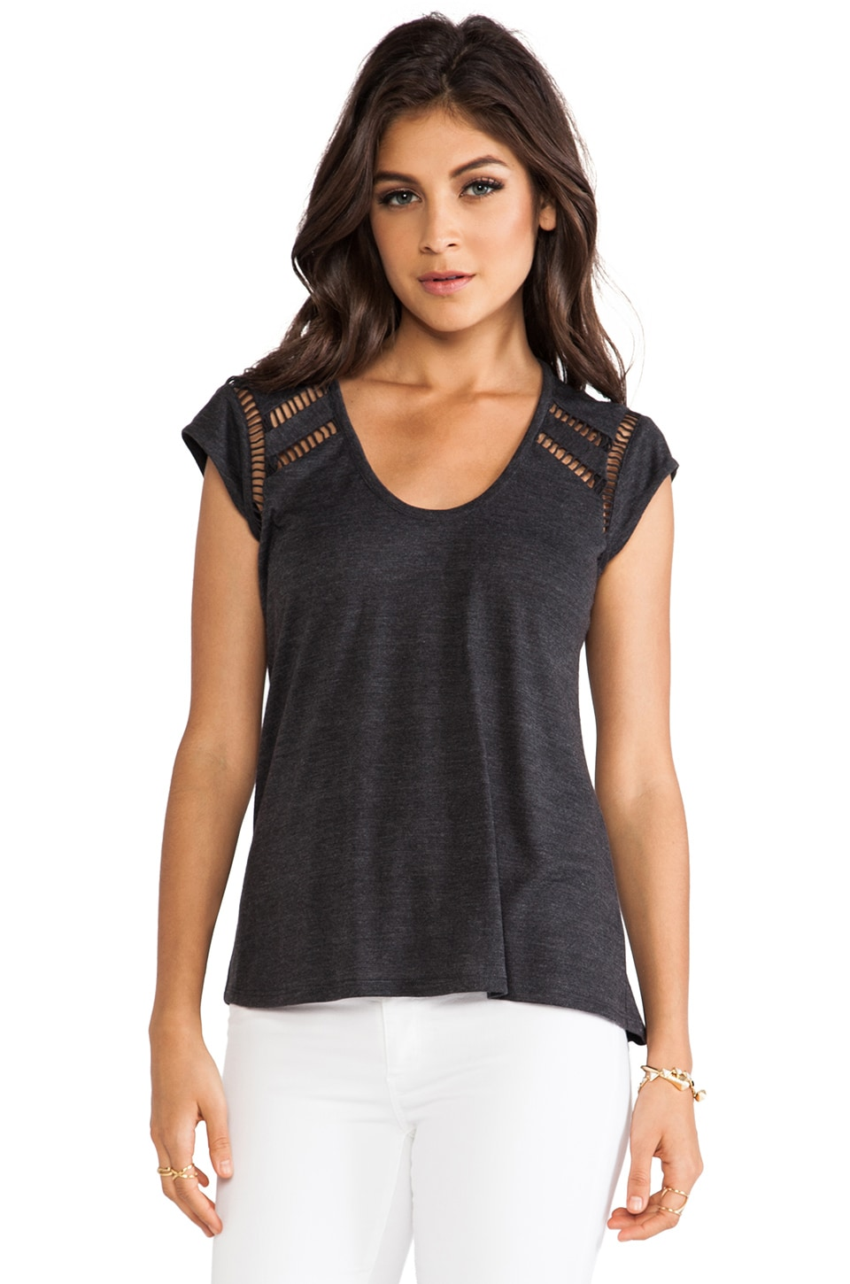 Rebecca Taylor Jersey Ladders Top in Charcoal