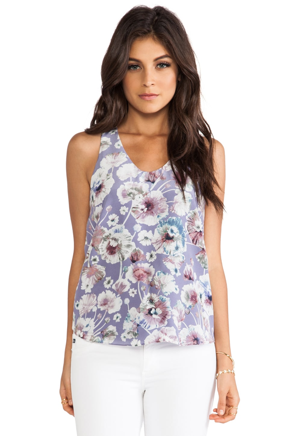 Rebecca Taylor Poppy Blossom Print Tank in Turtle Dove