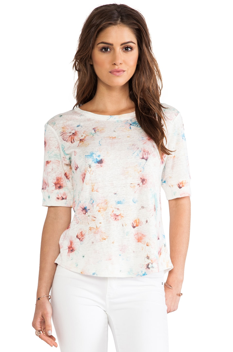 Rebecca Taylor Poppy Blossom Tee in Cream