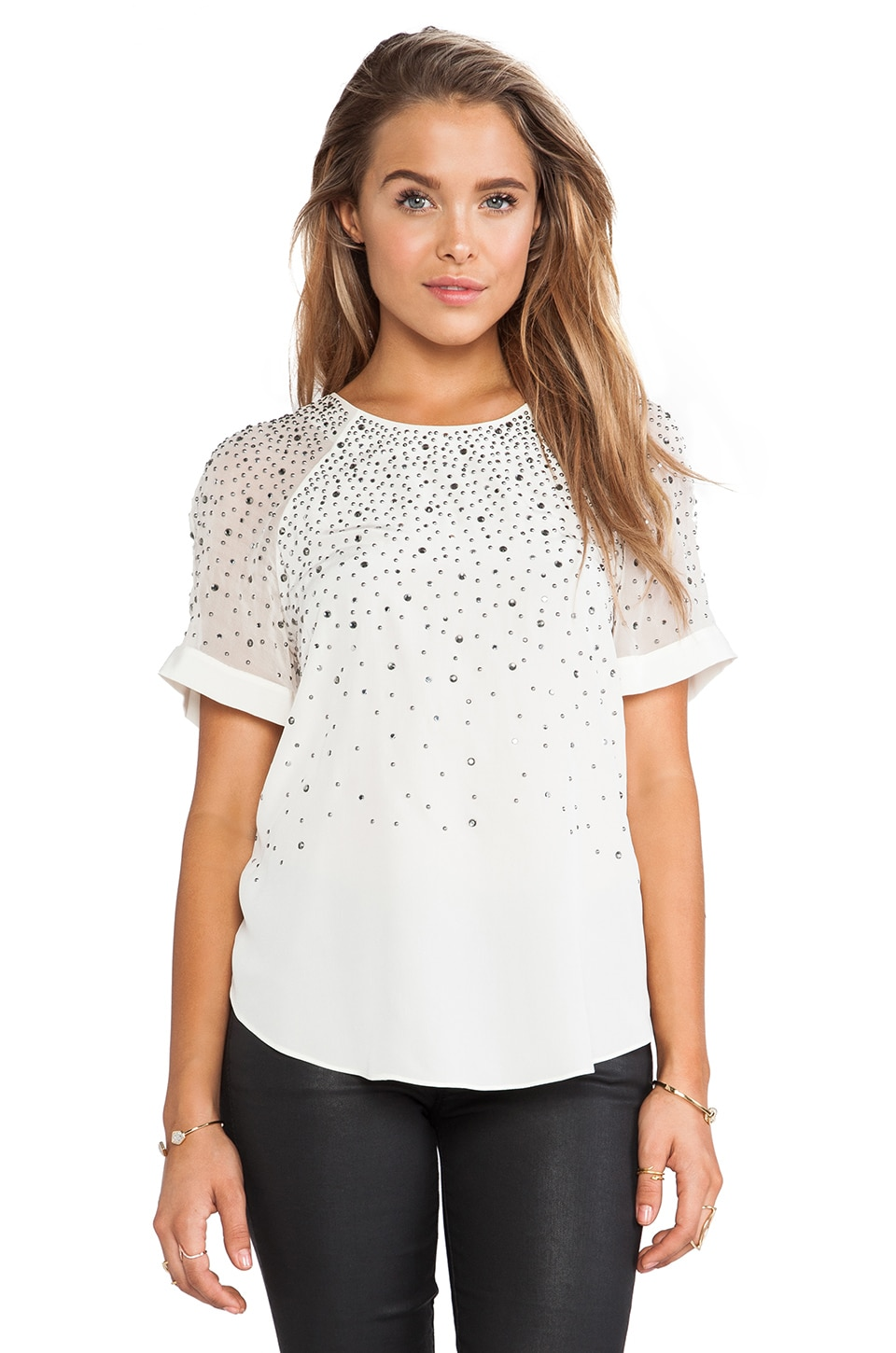 Rebecca Taylor Embellished Tee in Sea Salt