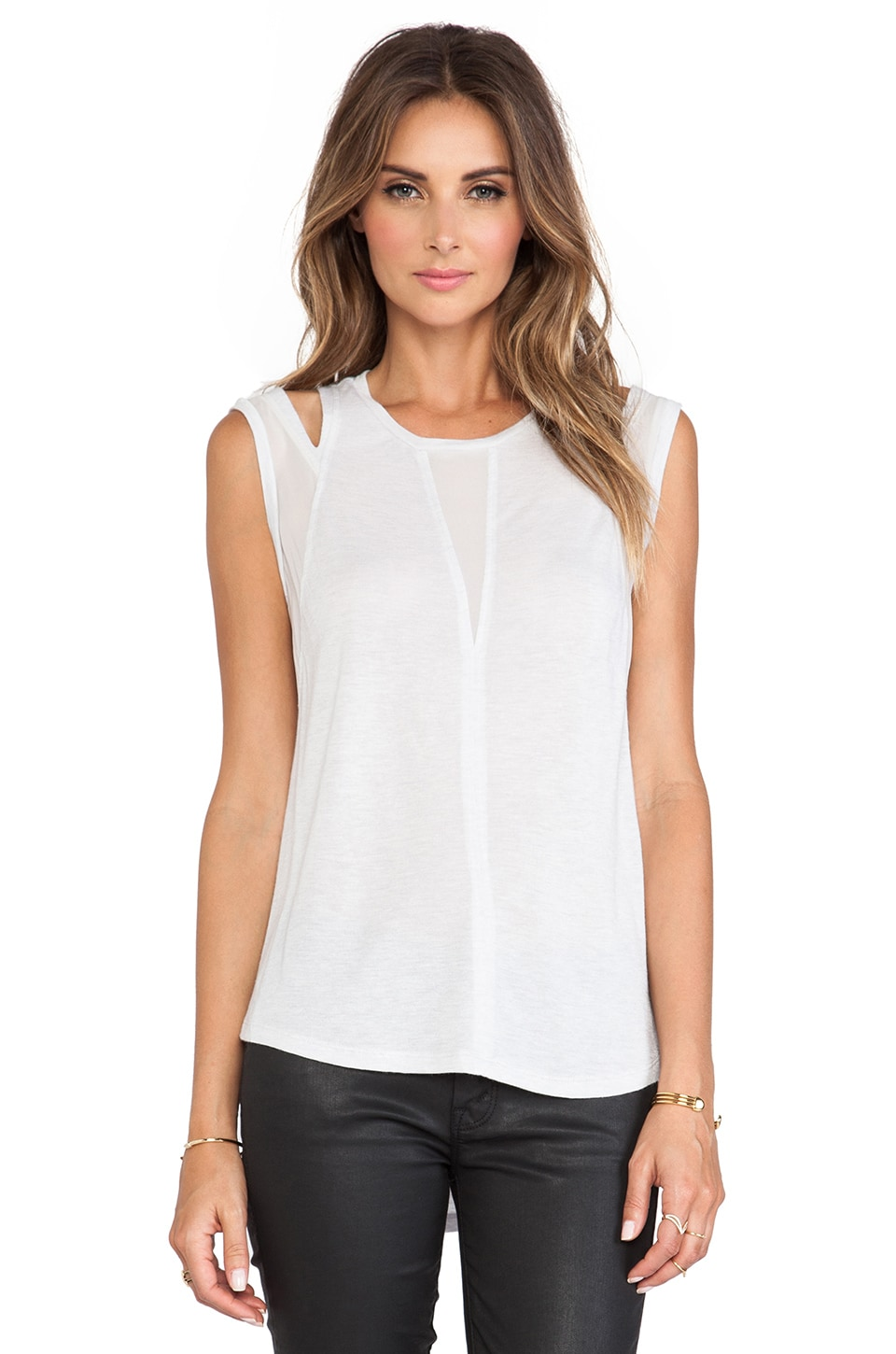 Rebecca Taylor Shoulder Cut Out Tank in Ice Grey