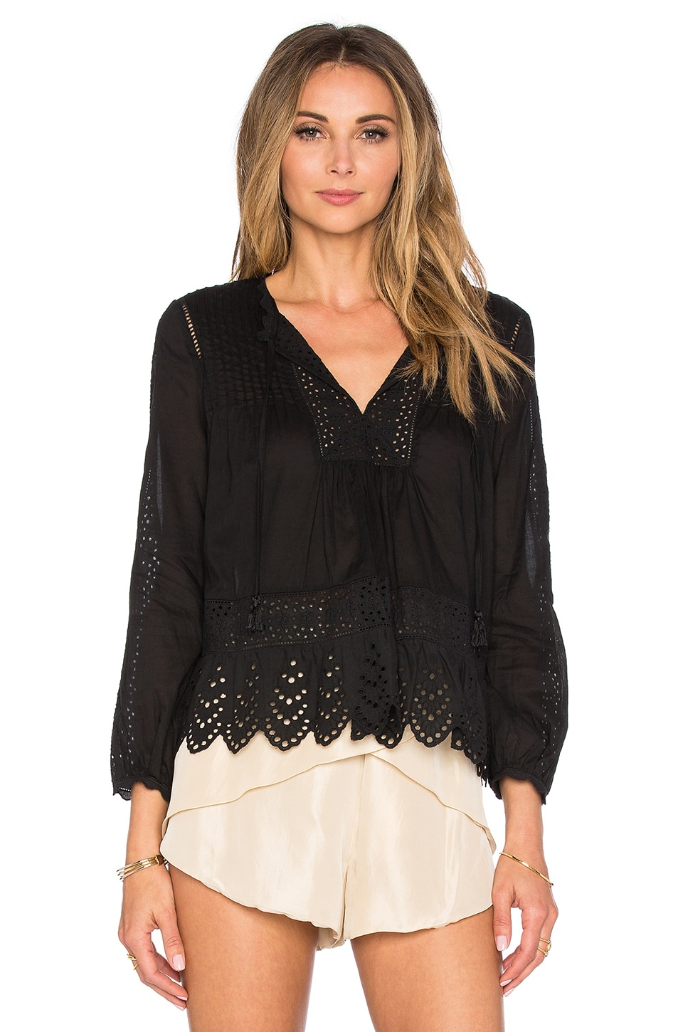 Long Sleeve Voile Lace Top at REVOLVE