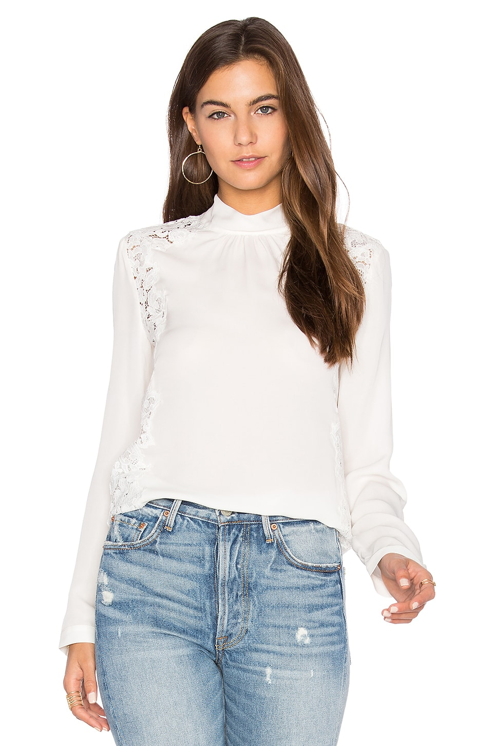 Long Sleeve Georgette & Lace Top by Rebecca Taylor