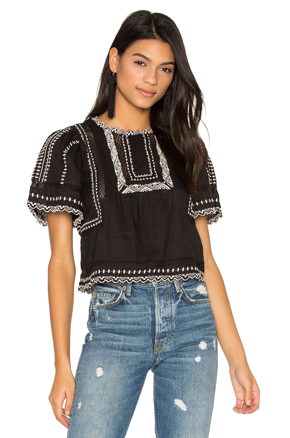 Rebecca Taylor Short Sleeve Esme Embroidered Top in Black Combo