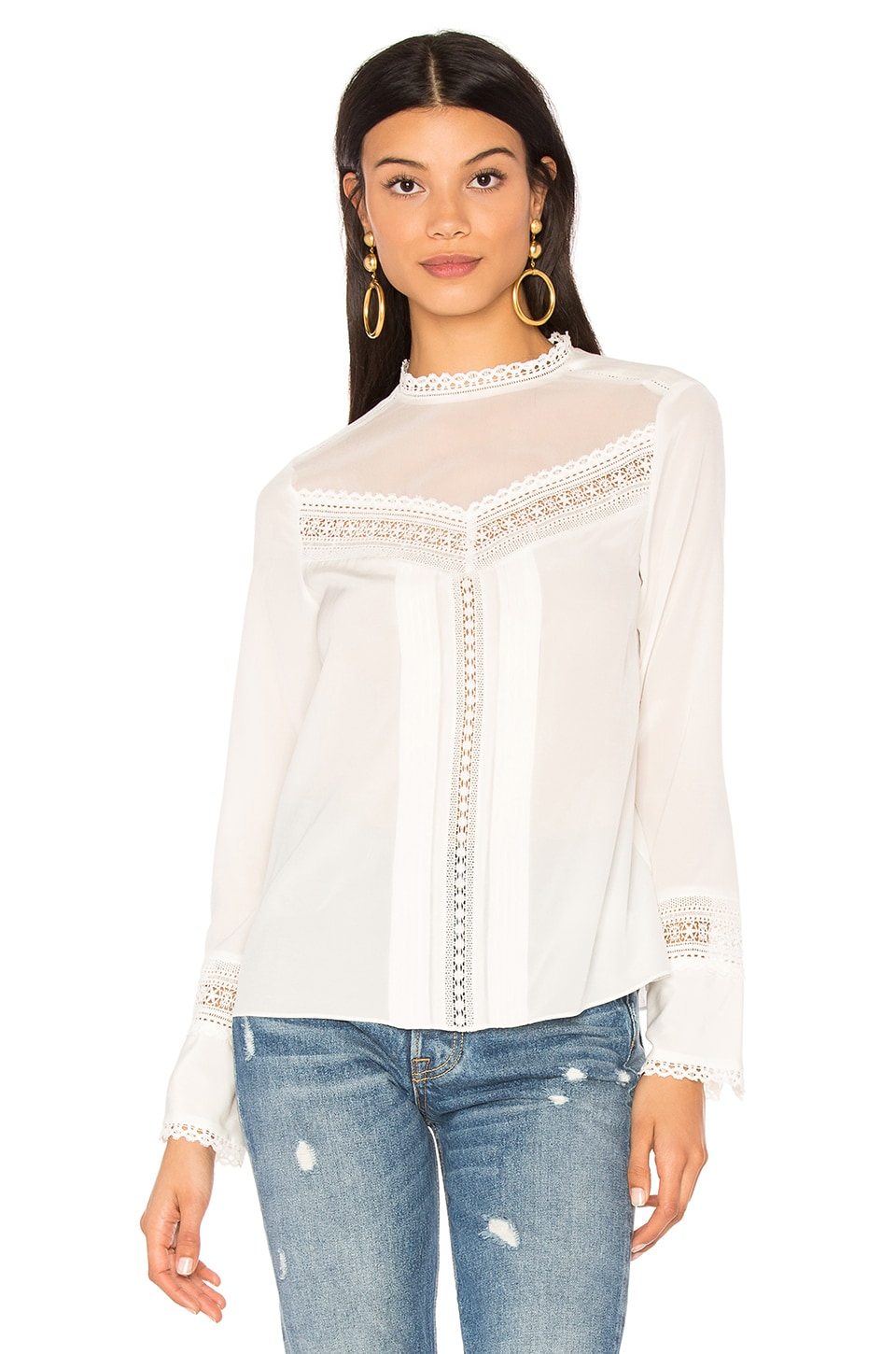 Long Sleeve Lace Silk Top by Rebecca Taylor