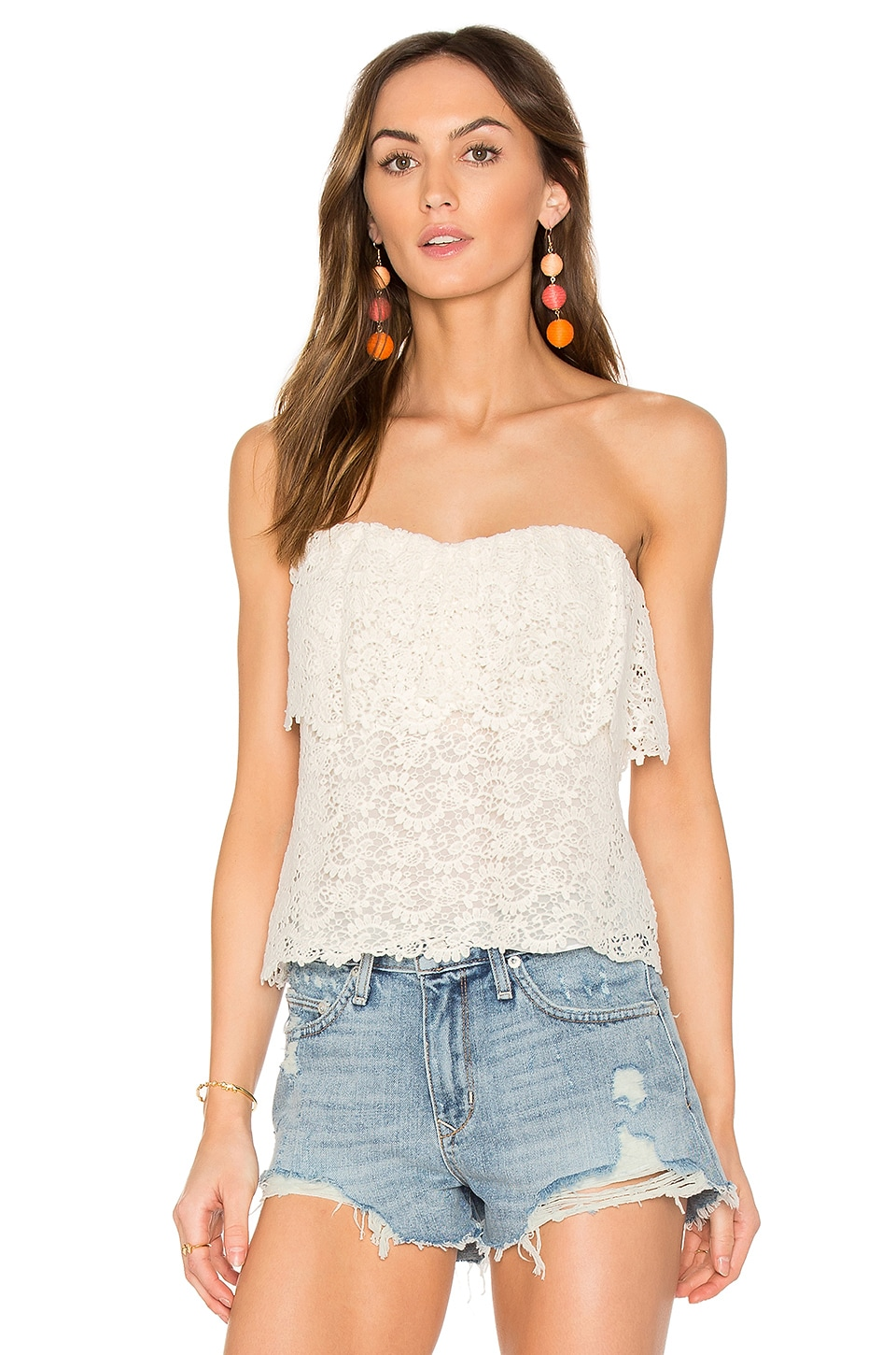 Rebecca Taylor Eliza Off Shoulder Lace Top in Snow
