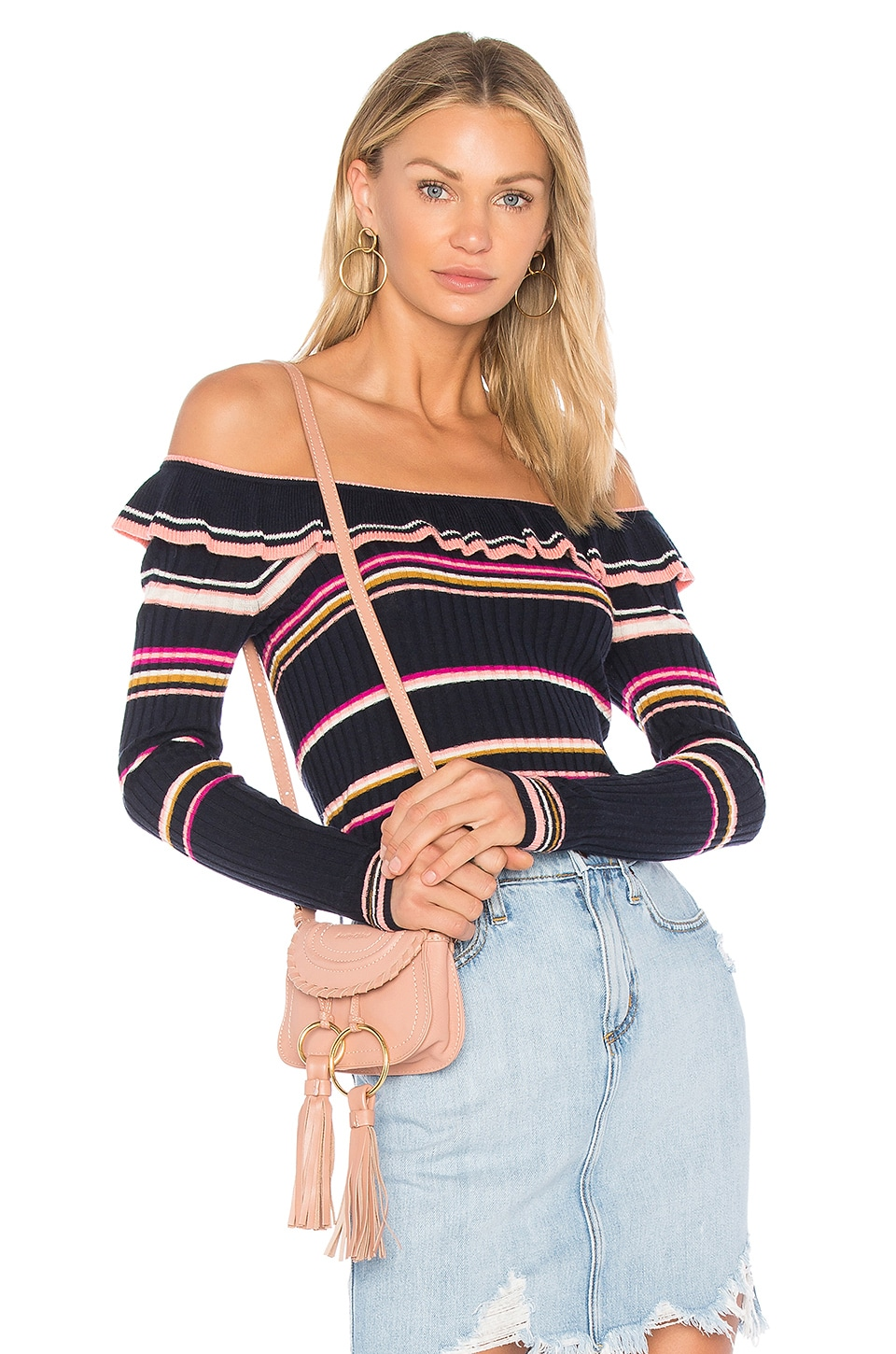 Rebecca Taylor Striped Ruffle Top in Navy & Cream