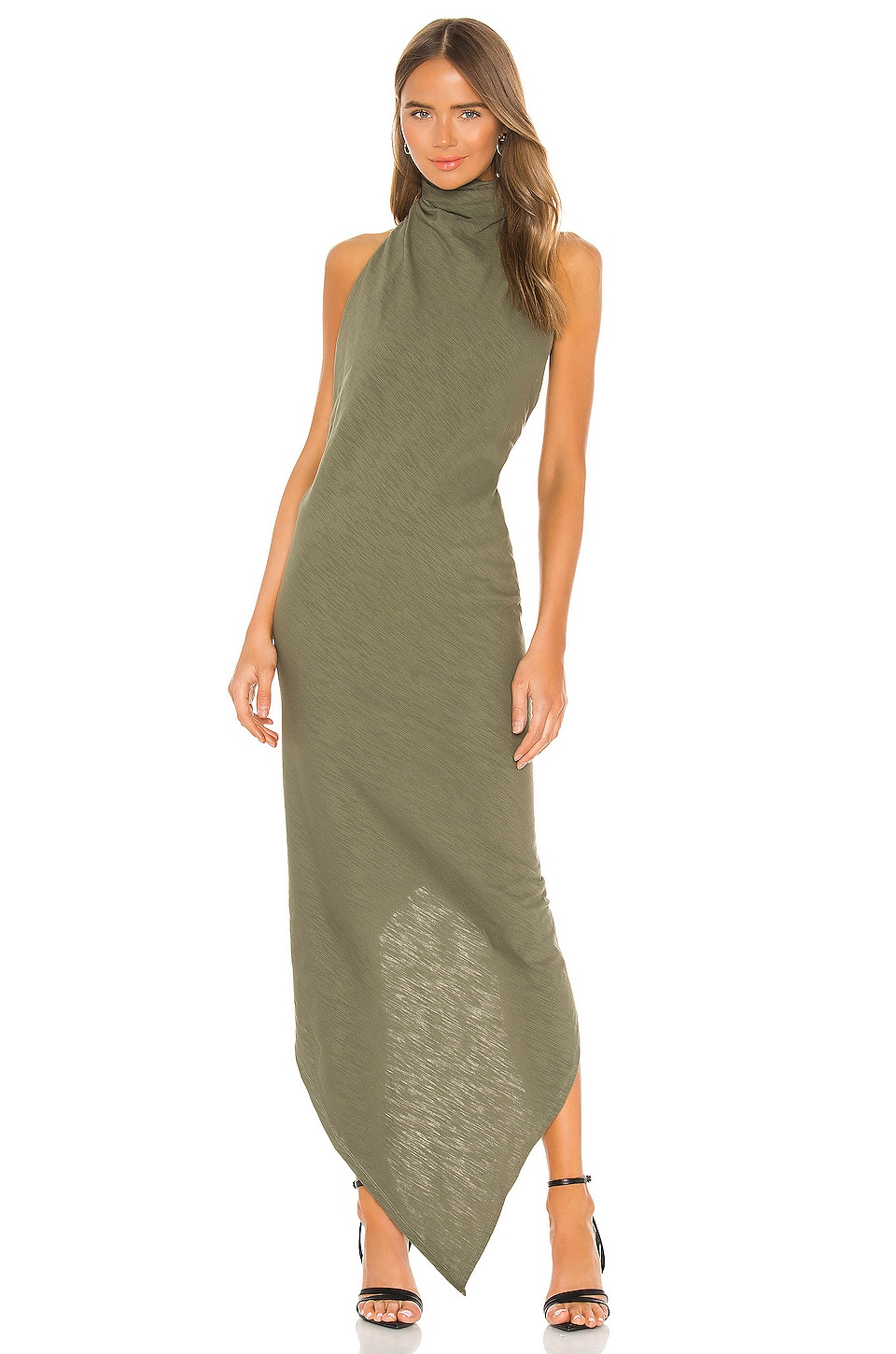 RtA Drew Halter Top Dress in Military Green