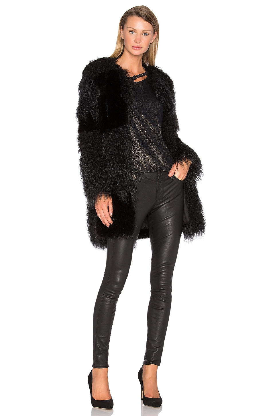 RtA Guinevere Faux Fur Coat in Nite