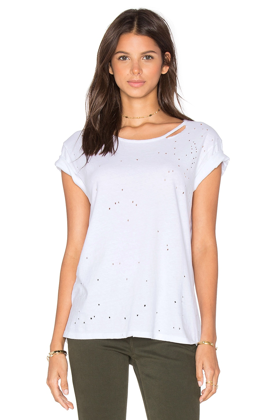RtA Jewel Distressed Tee in White