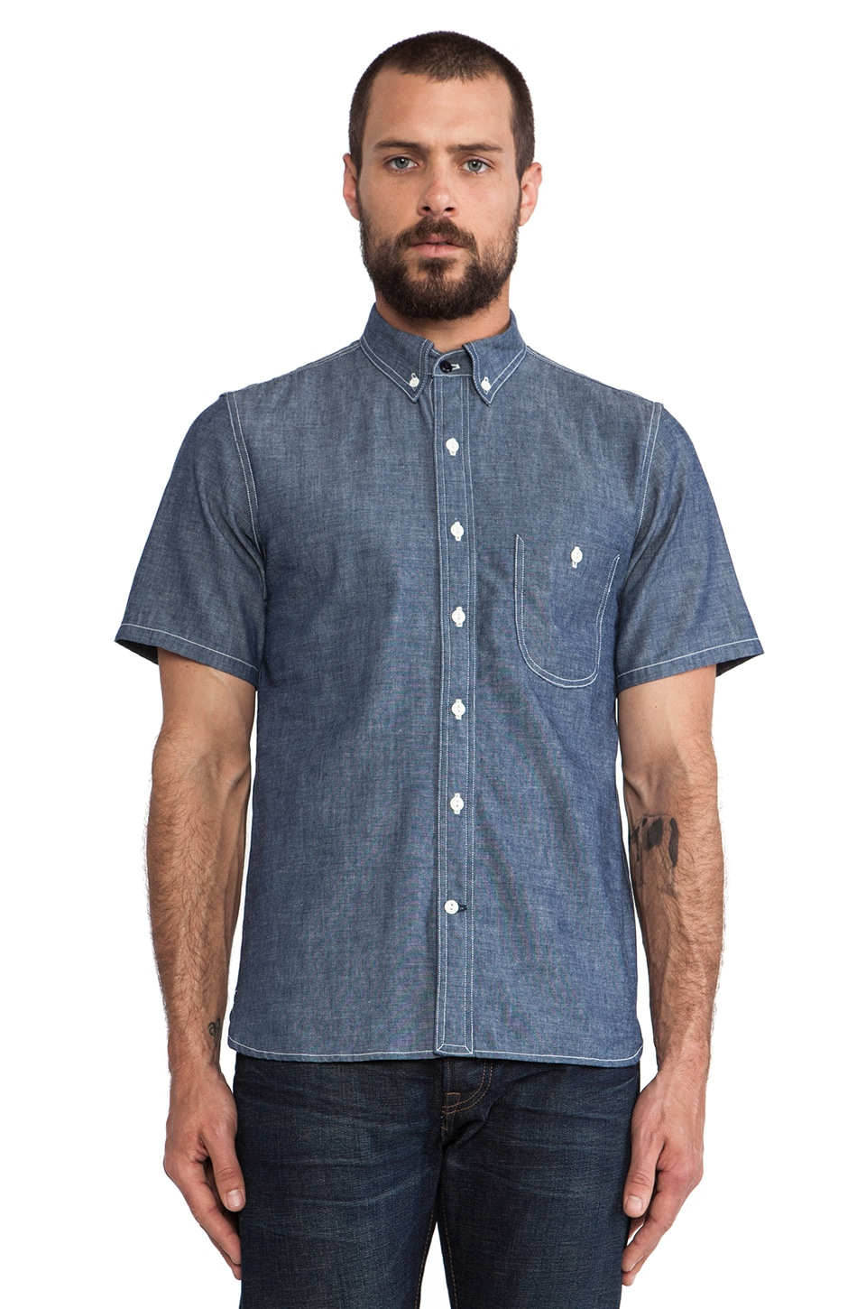 Rogue Territory Jumper Shirt Short Sleeve in Blue Raw Chambray